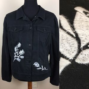 Lularoe Black denim embroidered jacket size XL